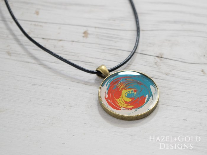 Paint and Resin Necklaces- finished swirl necklace horizontal