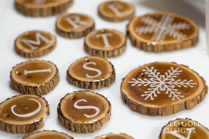 Holiday Wood Slice Garland- let cure for 24 hours