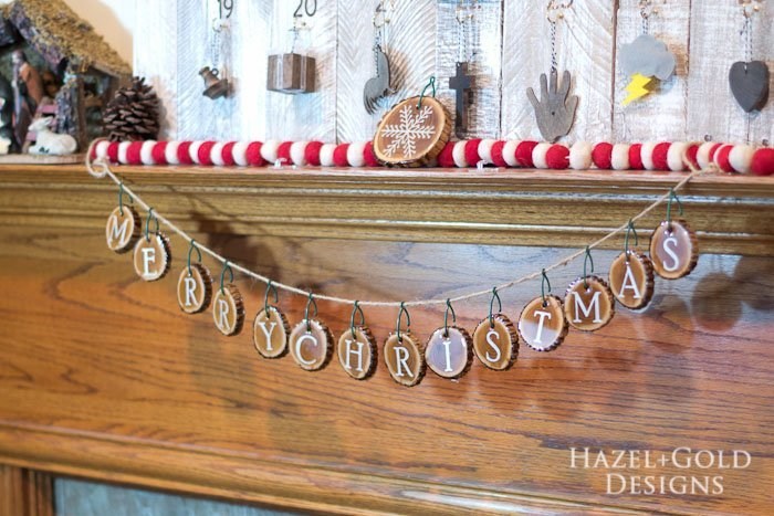 Holiday Wood Slice Garland- finished horizontal photo