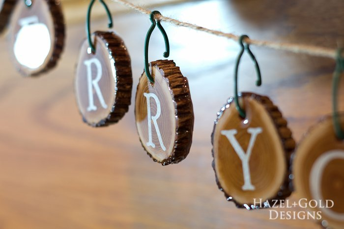 Holiday Wood Slice Garland- finished horizontal closeup