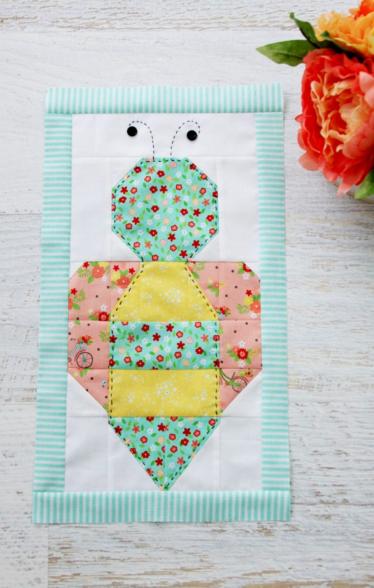 Colorful-Bee-Quilt-Block by flamingo toes