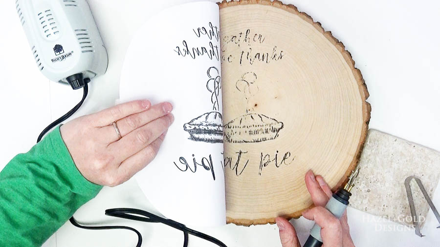 DIY Reversible Holiday Wood Slice Sign using Pyrography- use the universal shading tip to heat back of design and transfer laser ink to wood slice2