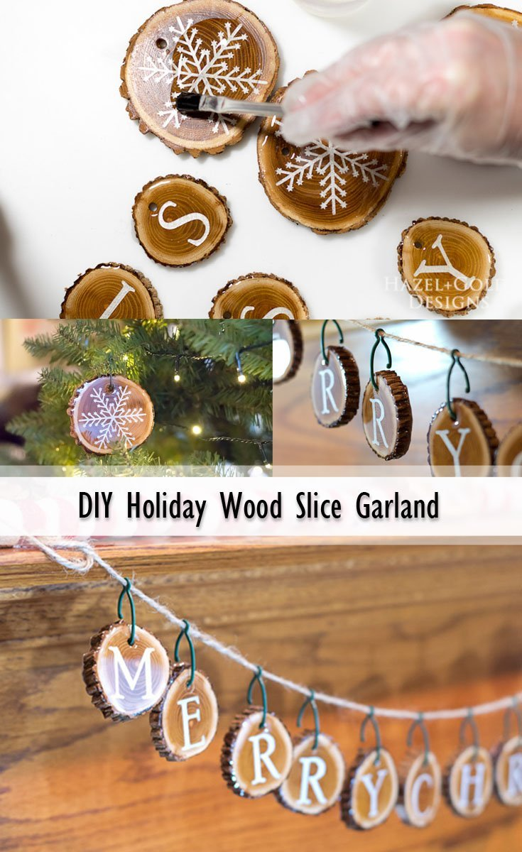 DIY Wood Slice Garland Pinterest image