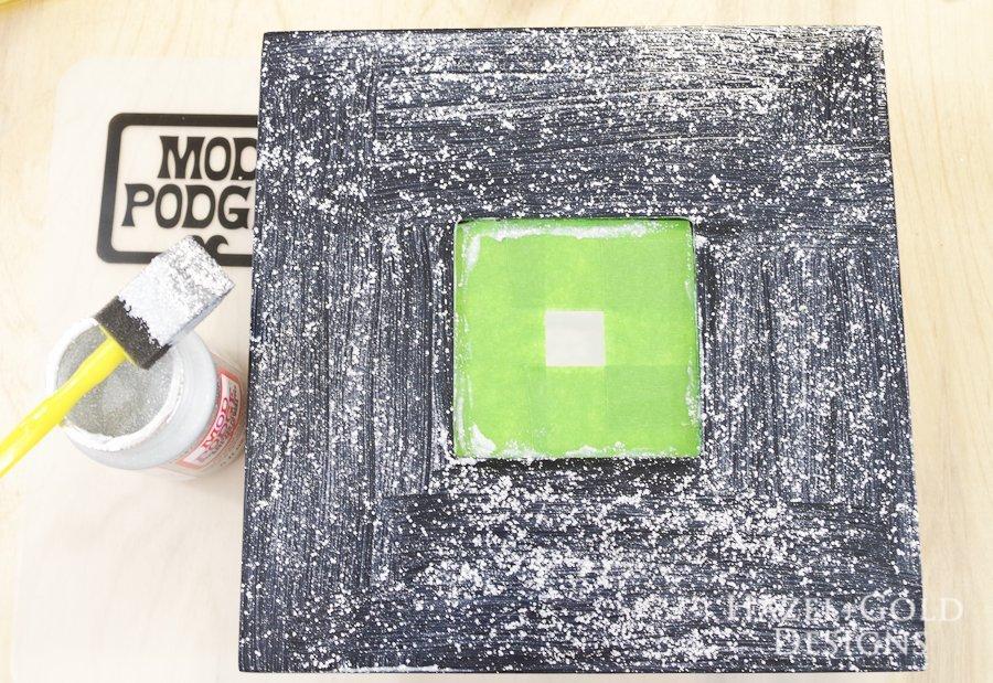 Glitter ModPodge Mirror Frame_- paint one coat of glitter modpodge onto frame then let dry