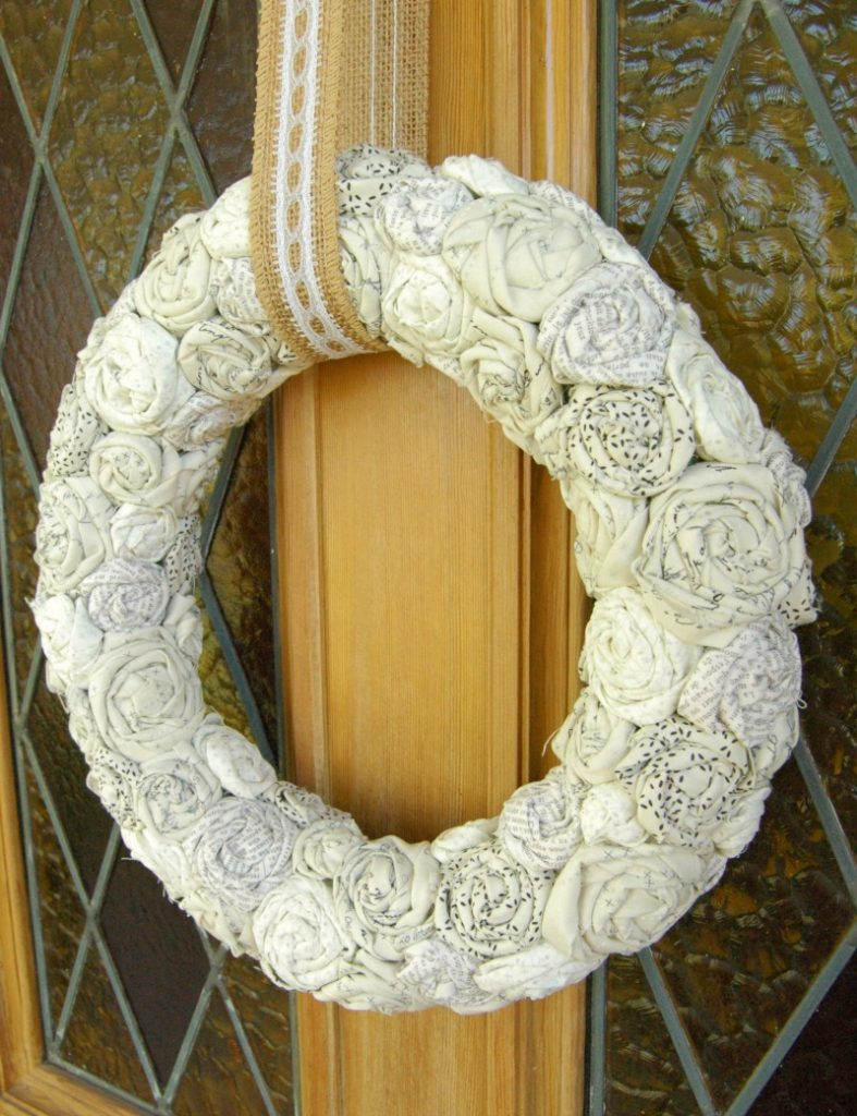 Rolled-Fabric-Rose-Farmhouse-Wreath- by Busy Being Jennifer
