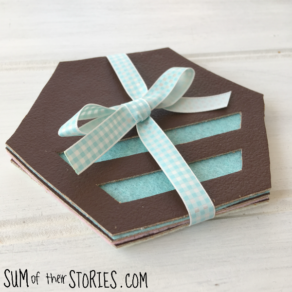 geometric leather coasters by sum of their stories