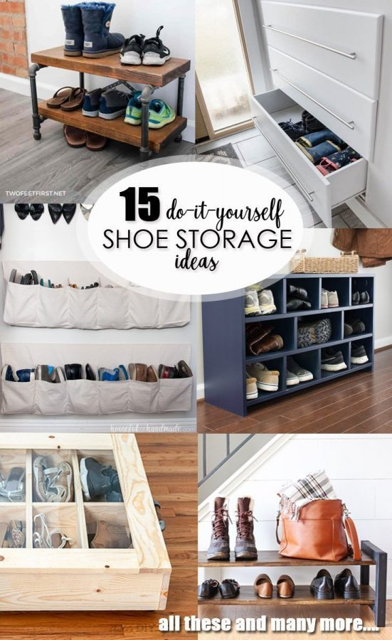 15 DIY Shoe Storage Ideas pinterest image