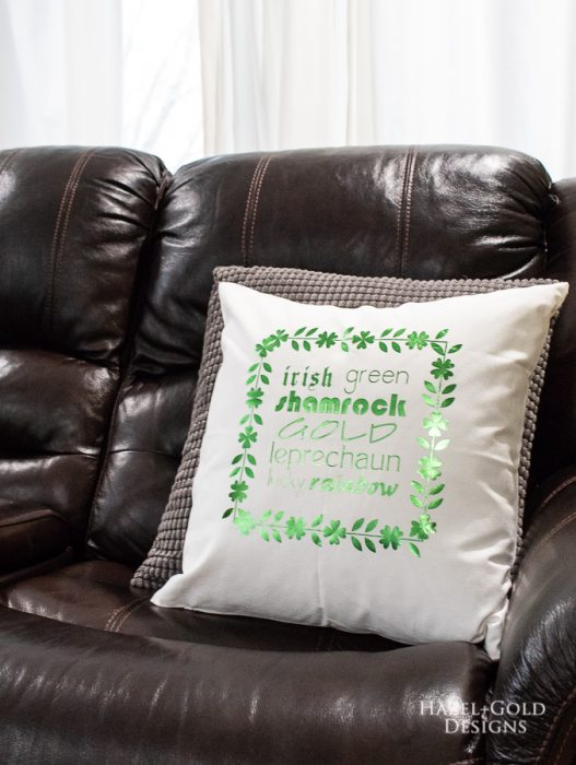 St Patricks Day Pillow -finished photo vertical