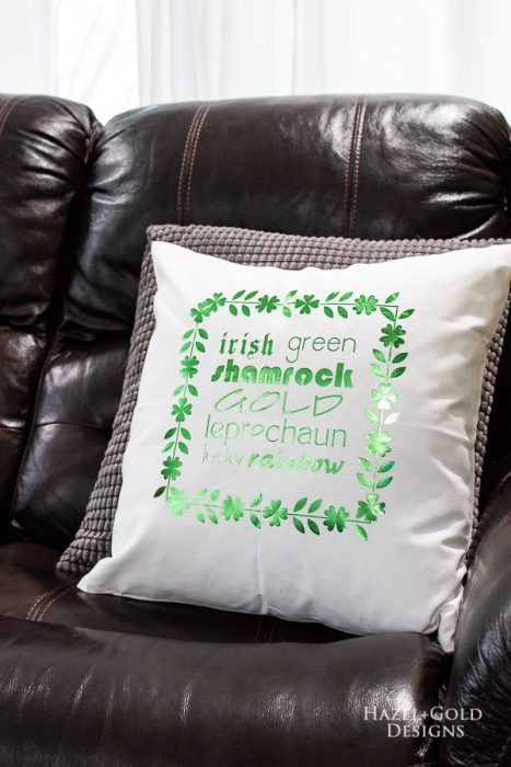 St Patricks Day Pillow -finished photo vertical2