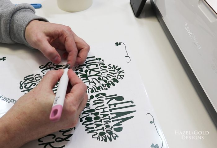 St Patricks Day Art using Cricut Maker - weed all tiny pieces