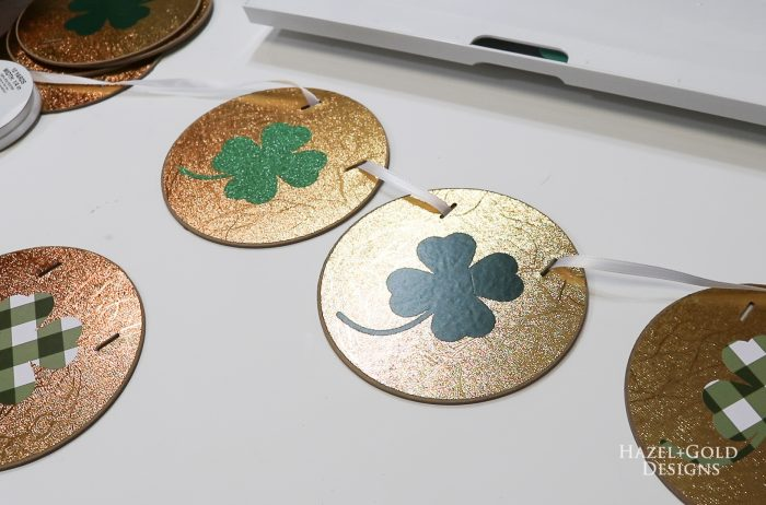 St Patricks Day Gold Coin Banner - add ribbon to circle coins