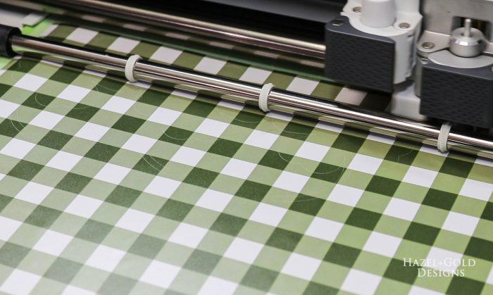 St Patricks Day Gold Coin Banner - cutting forest green gingham matte vinyl