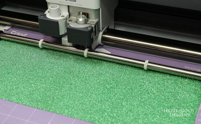 St Patricks Day Gold Coin Banner - cutting green glitter premium vinyl with Cricut maker