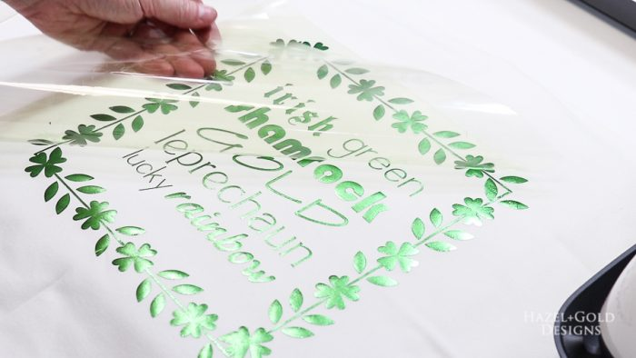 St Patricks Day Pillow - Let cool and peel off the plastic backing