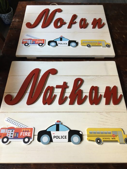 diy name signs by a firemans wife