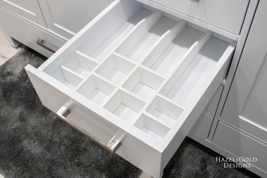 DIY Bathroom Drawer Organizer empty