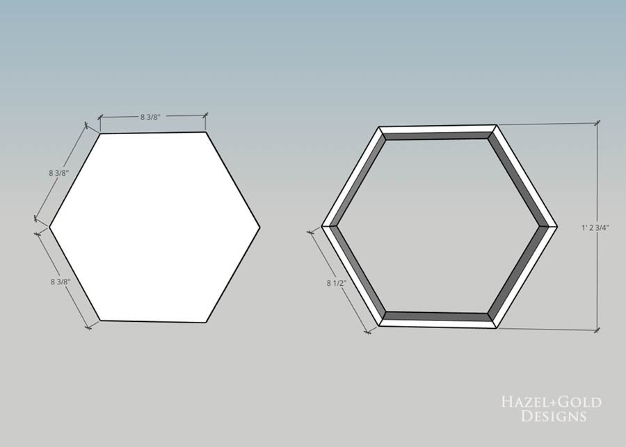 DIY Hexagon Shelf for Craft Storage- trace shape of shelves to cut out back