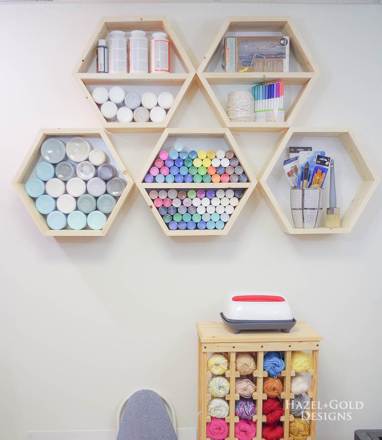 DIY Hexagon Shelf for Craft Storage- finished photo straight on
