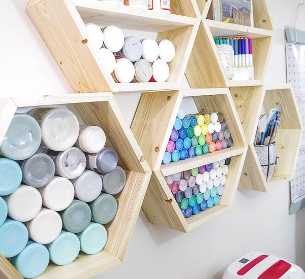 DIY Hexagon Shelf for Craft Storage- finished photo vertical from left side