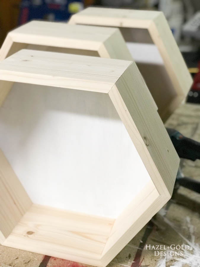DIY Hexagon Shelf for Craft Storage- finished shelves