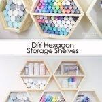 DIY Hexagon Storage Shelves Pinterest image