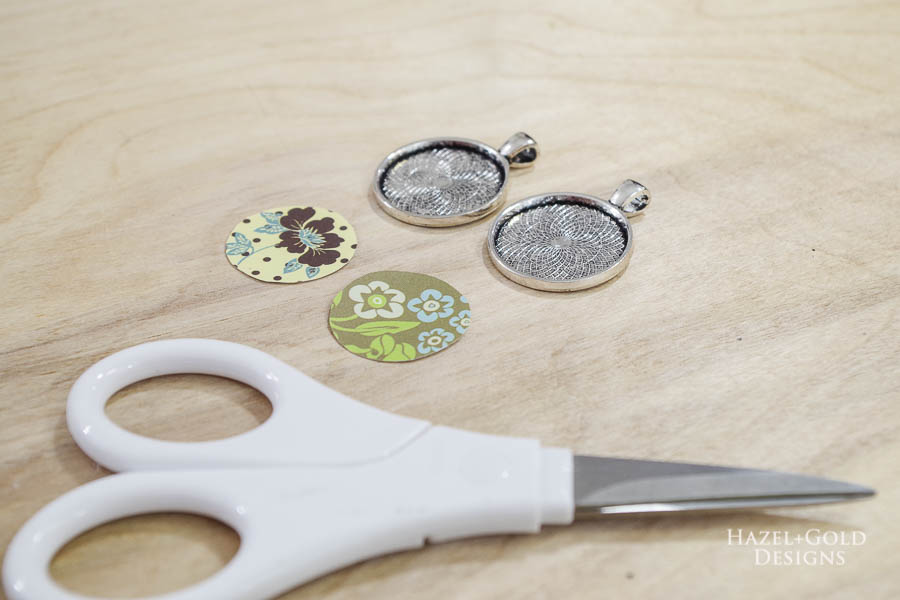 DIY Paper and Resin Pendant Necklace - cut paper into circles that fit snugly in bezels