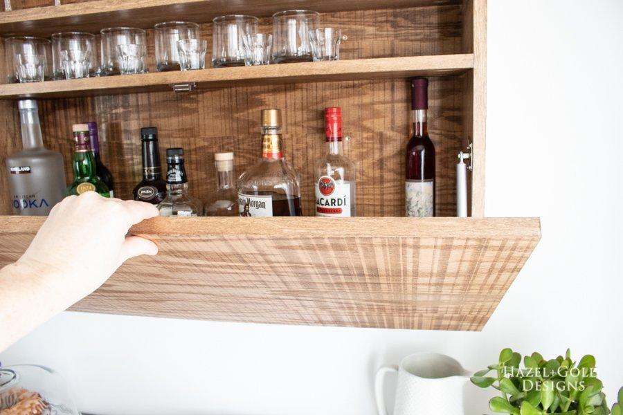 DIY Wall Mounted Bar Cabinet - (13)