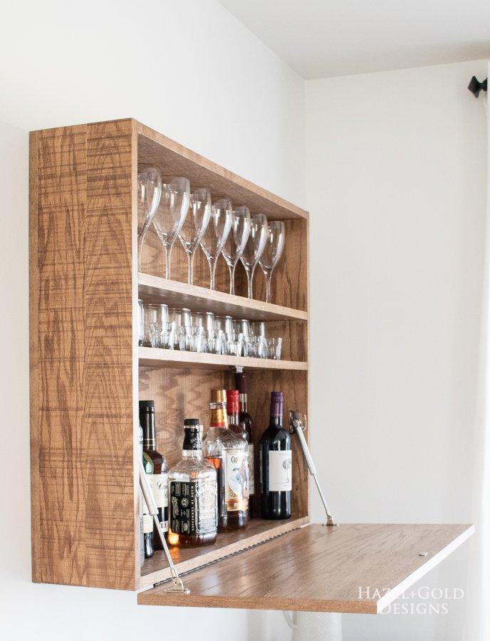 DIY Wall Mounted Bar Cabinet - (2)