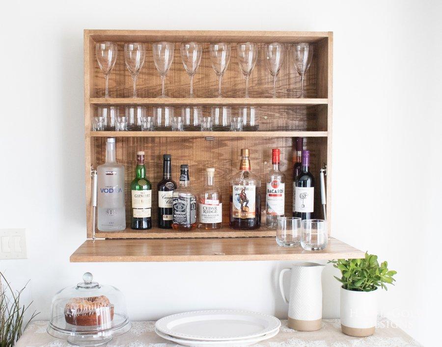 DIY Wall Mounted Bar Cabinet - (7)