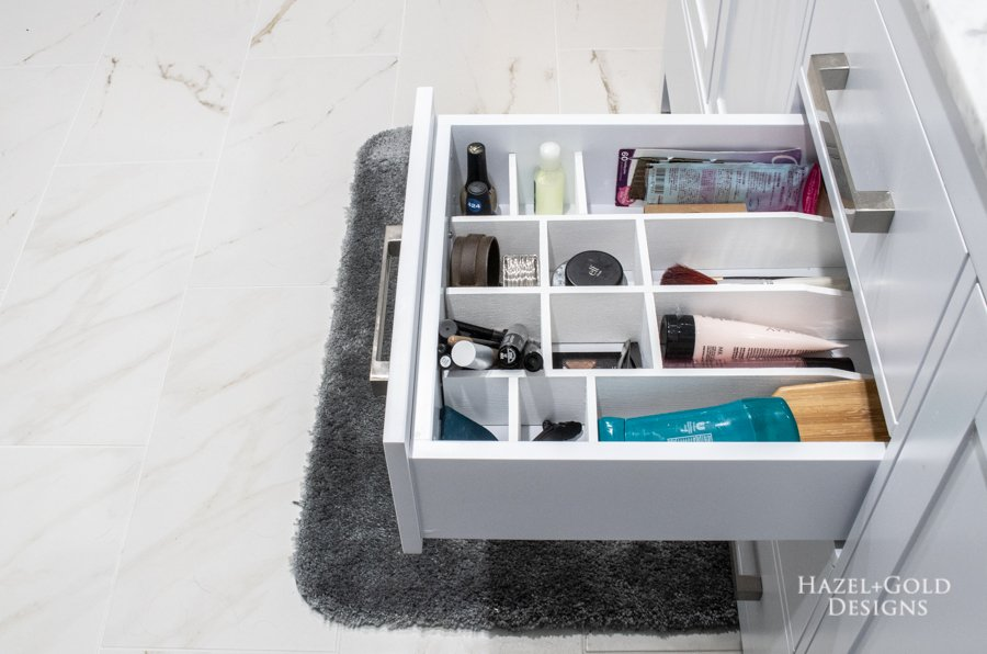 DIY bathroom drawer organizer right side angle