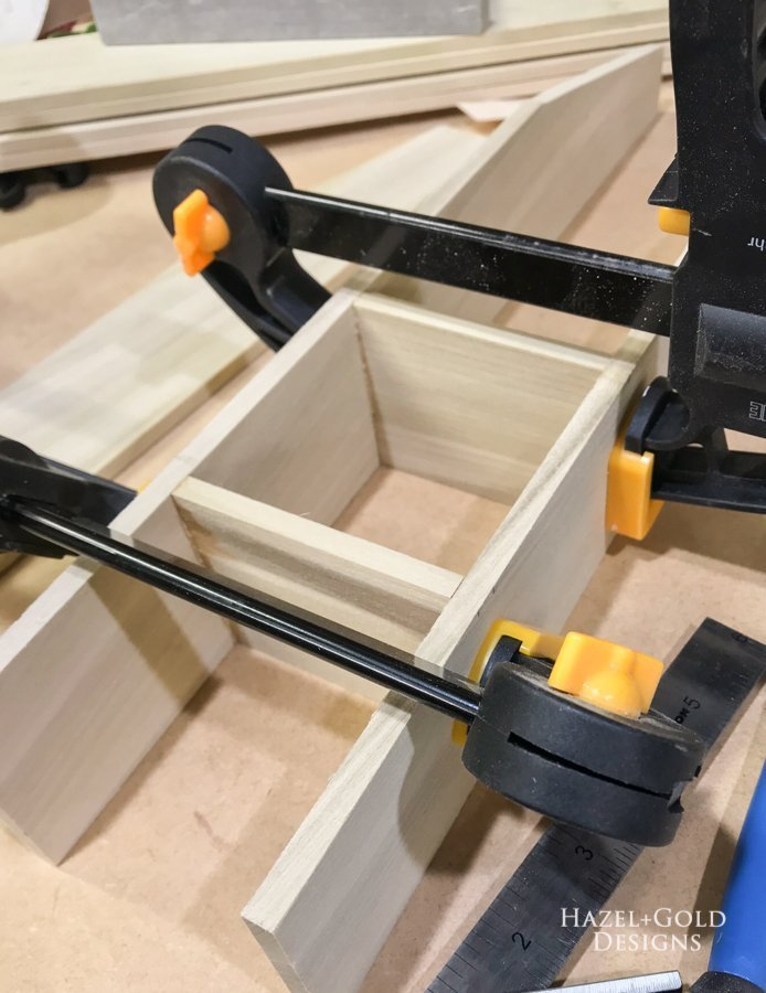 Glue and clamp pieces together DIY Bathroom Drawer Organizer