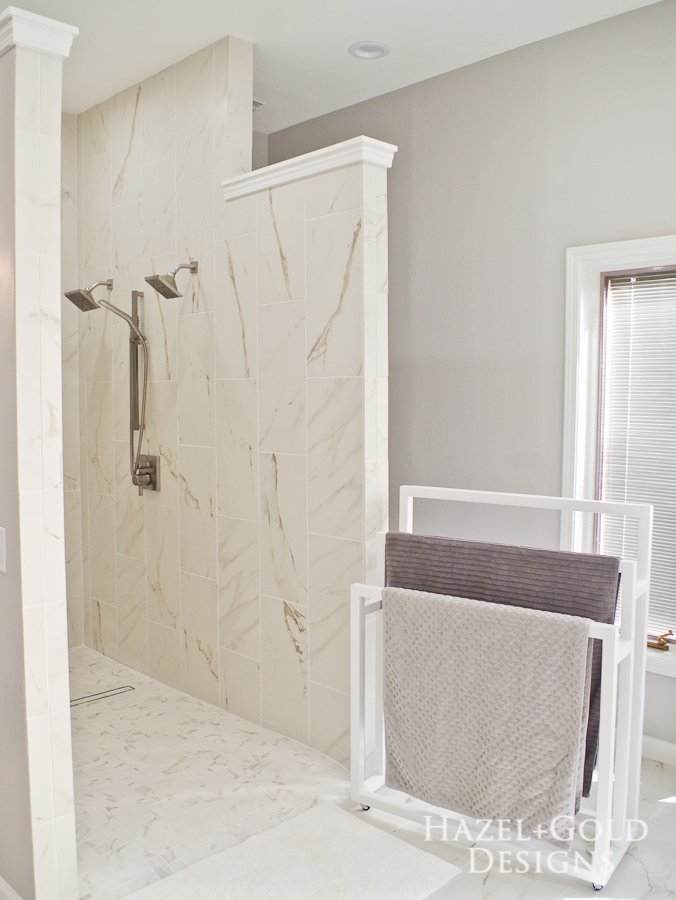 Mobile DIY Towel Rack - finished vertical photo with shower and diy towel rack