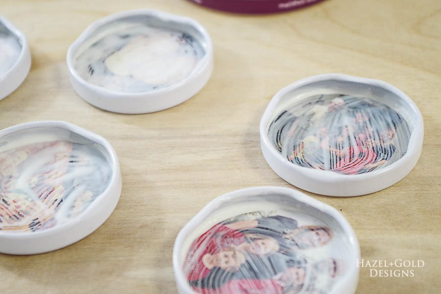 how to make photo magnets with resin - let glue sealer dry