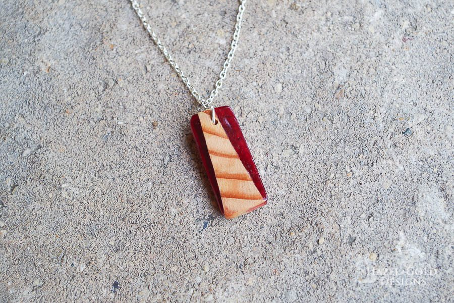 how to make wood and resin necklaces - finished red rectangle
