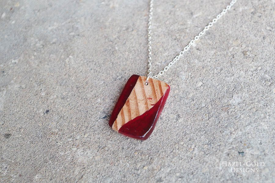 how to make wood and resin necklaces - finished red square