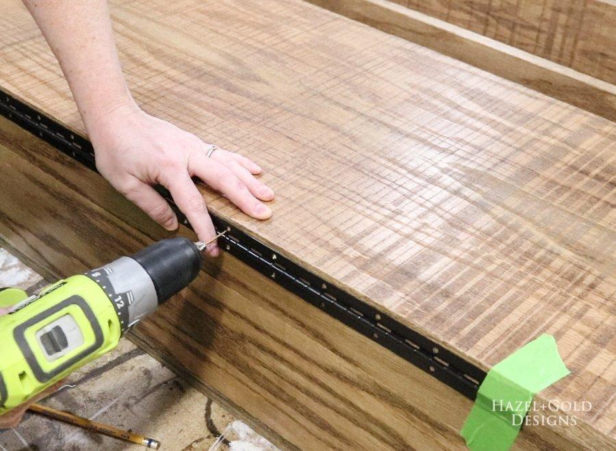 predrill holes for piano hinge