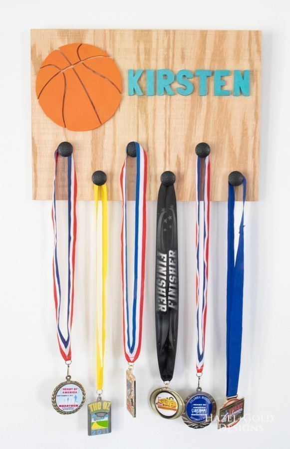 DIY Basketball sports medal holder vertical finished image