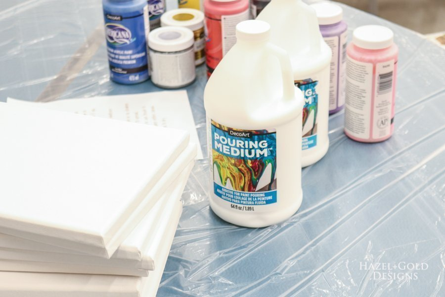 brownie painting badge class - paint pouring supplies