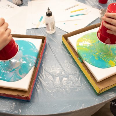 paint pouring dirty pours - brownie girl scouts painting badge activity