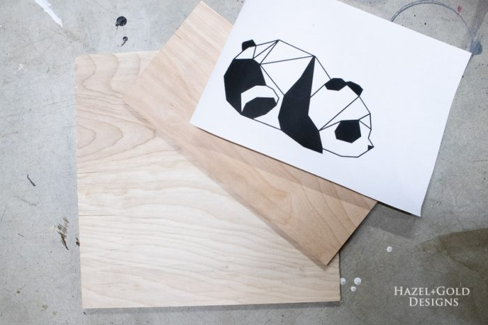 wood scraps and printed design for cutting out