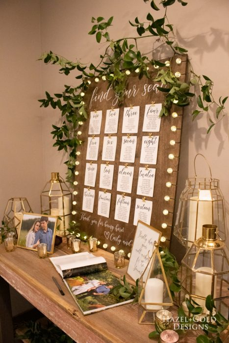 completed beautiful Rustic Wedding Seating Chart with lights!