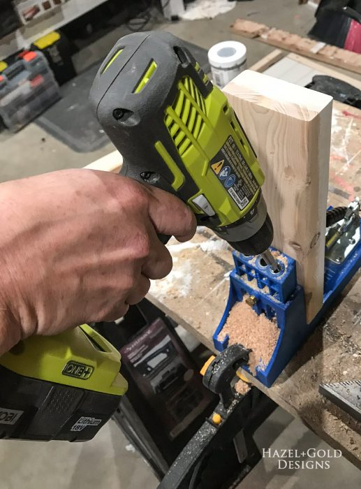 """drill pocket holes into both ends of 12"""" pieces"""