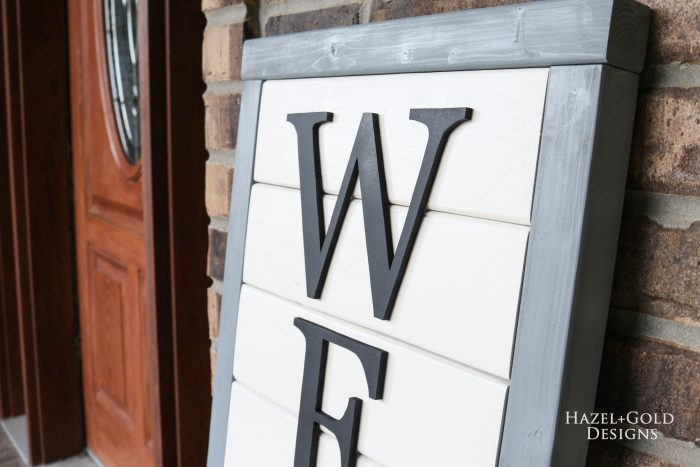 closeup view of wooden welcome sign