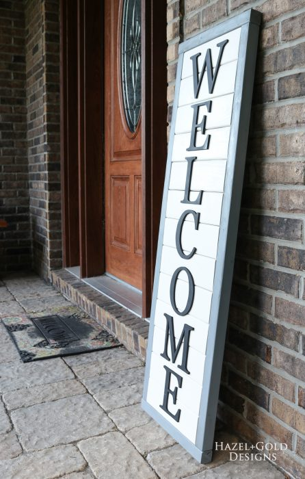 Finished DIY Farmhouse Style 2x4 Wooden Welcome Sign for your front porch