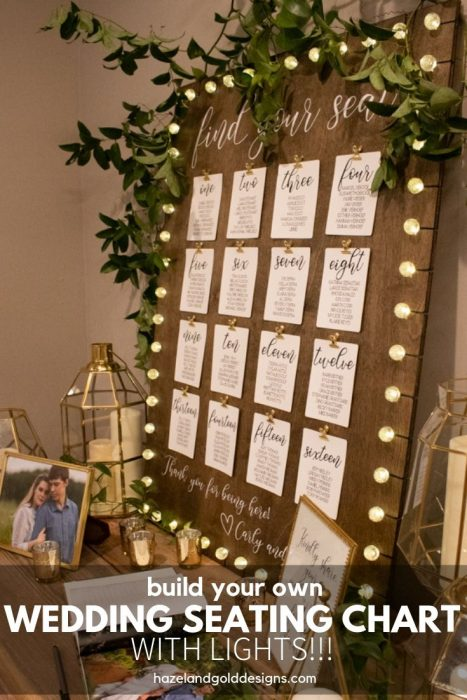 how to make your own rustic wedding seating chart with bubble lights.