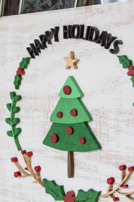 straight in finished photo of holiday wreath scroll saw sign