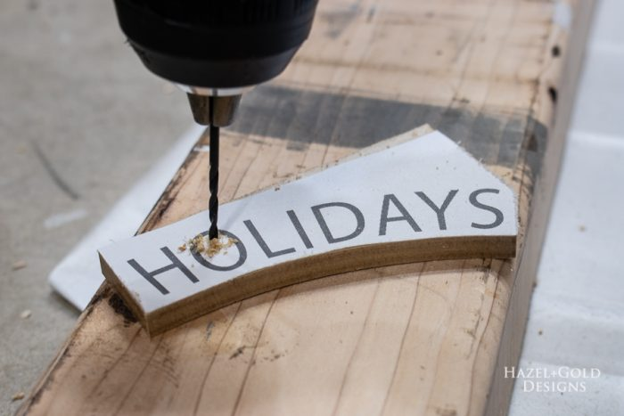 happy holiday letter cut with scroll saw, for insides drill small holes