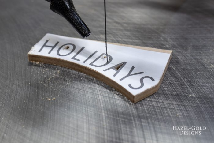 happy holiday letters cut out with scroll saw
