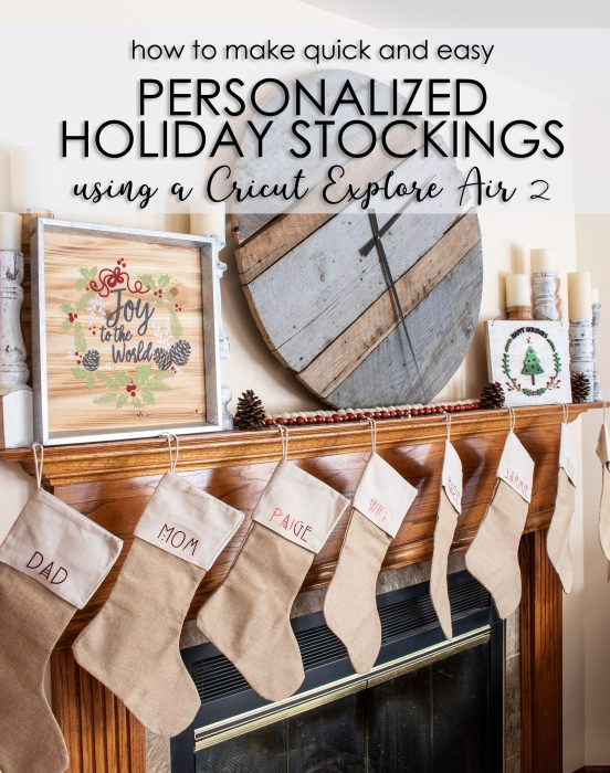 DIY personalized holiday stockings using the cricut explore air 2 pinterest image