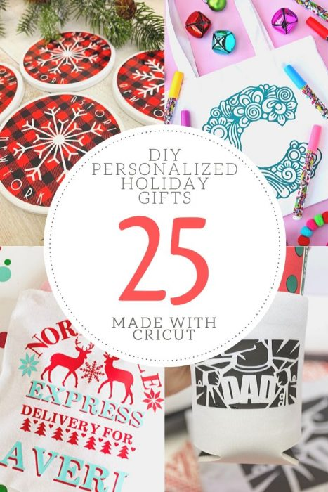 Check out these 25 great ideas for Personalized Holiday DIY Gifts made with Cricut! #cricutcreated #officialcricut